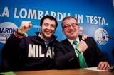 Salvini e Maroni alla festa leghista di Arcore